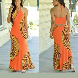 Oranges& tan sleeveless dress